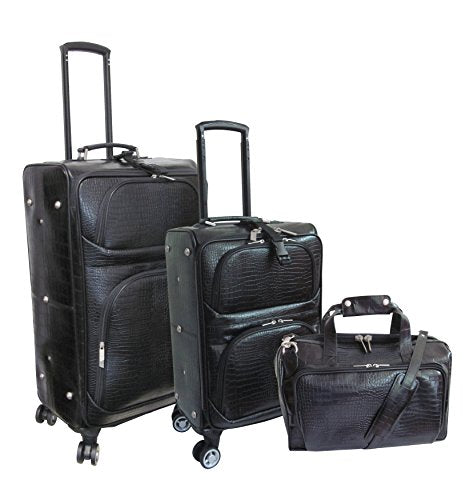 Amerileather Leather Croco-Print Three Piece Set Traveler On Spinner Wheels (#8603-0) (Black)