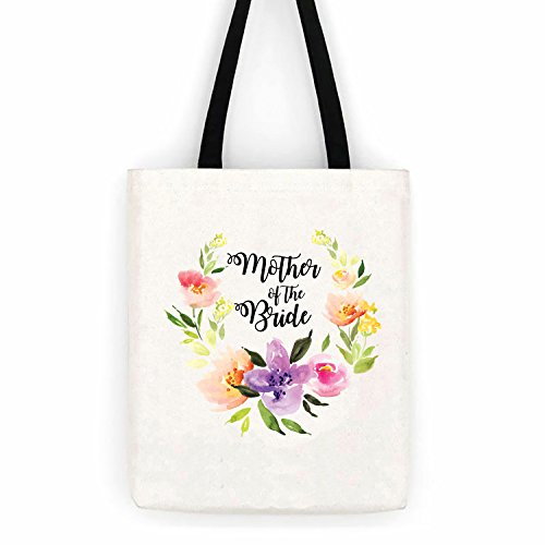 Mother of the Bride Floral Wedding Cotton Canvas Tote Bag School Day Trip Bag