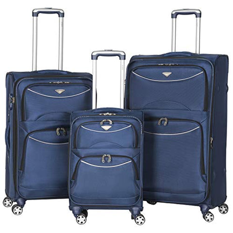 Flight Knight Lightweight 8 Wheel 1680D Soft Case Suitcases Maximum Size For Delta, United and SkyWest - Cabin + Medium + Large Navy FK0042_3SET
