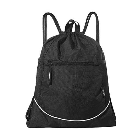 Bagail Lightweight Drawstring Sports Backpack Large Gym Sackpack for Men and Women (Black)