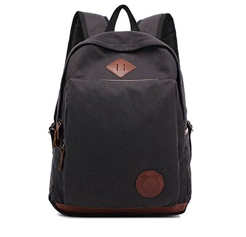 "New Cotton Canvas 15"" Laptop Backpack Casual Travel Backpack School Bag (black)"
