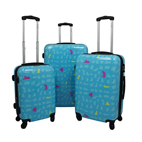 Chariot 3-Piece Hardside Lightweight Upright Luggage Set, Summer Cat