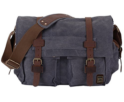 Berchirly Military Canvas Shoulder Messenger Bag Leather Straps for 14.7Inch Laptop