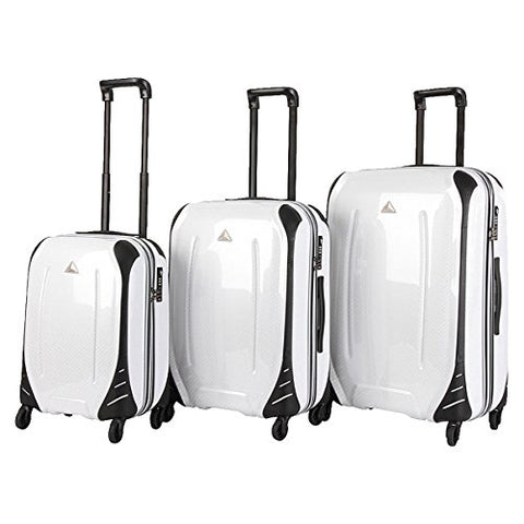 The Set of Classic white carbon Triforce Empire Collection Hardside 3-piece Spinner Luggage Set