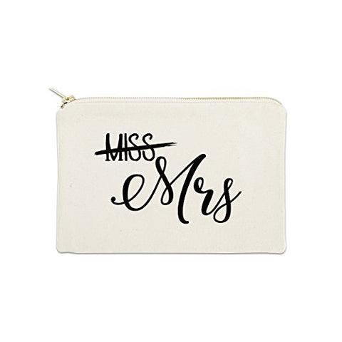 Miss Mrs Bride 12 oz Cosmetic Makeup Cotton Canvas Bag - (Natural Canvas)
