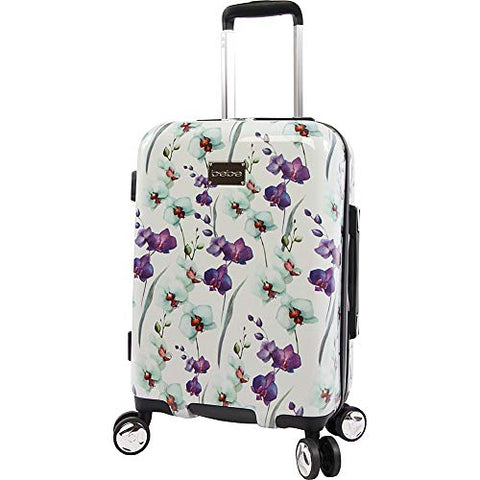 "BEBE Women's Alexandra 21"" Hardside Carry-on Spinner, White Floral"