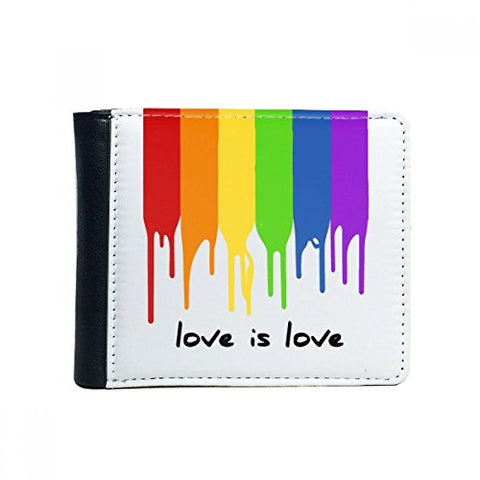 Love Is Love Lgbt Rainbow Color Flip Bifold Faux Leather Wallet Multi-Function Card Purse Gift