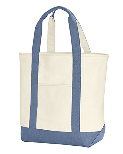 Zuzify Heavy Canvas Pigment Dyed Handles Tote Bag. Ix0991 Os Ivory / Blue Jean