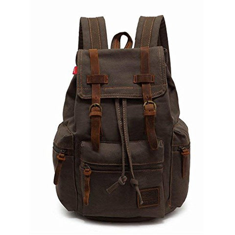 "High Capacity Canvas Vintage Backpack - for School Hiking Travel 12-17"" Laptop"