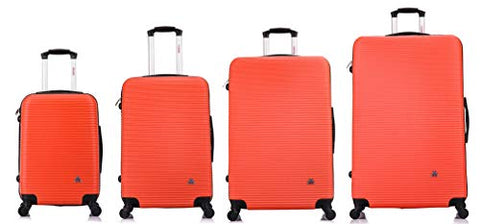 "Inusa Royal Lightweight Hardside Spinner 4 Piece Set 20"", 24'', 28"", 32"" Orange"