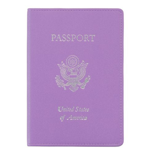 Royce Leather Passport Holder and Travel Document Organizer in Leather, Purple 2