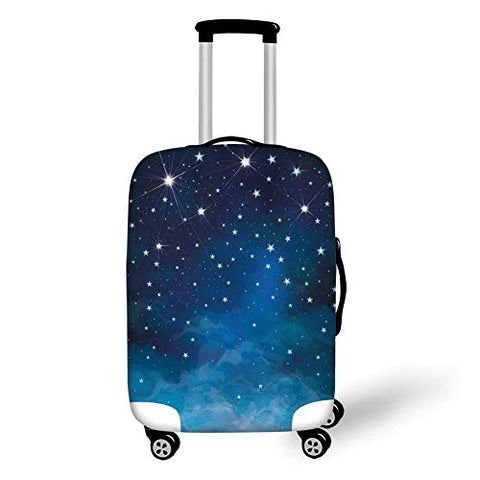 Travel Luggage Cover Suitcase Protector,Night,Vibrant Star in Abstract Ombre Style Sky Astronomy Themed Graphic Decorative,Light Blue Dark Blue White,for TravelM 23.6x31.8Inch