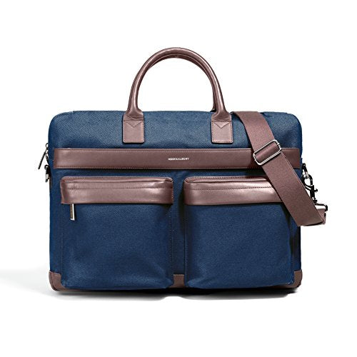 Navy Canvas with Brown Leather Accents Computer Bag by Hook & Albert