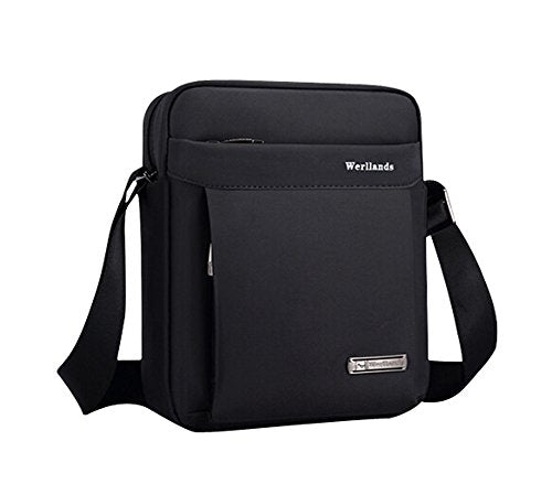 Men's Waterproof Nylon Business Briefcase Durable Messenger Shoulder Bag BLACK