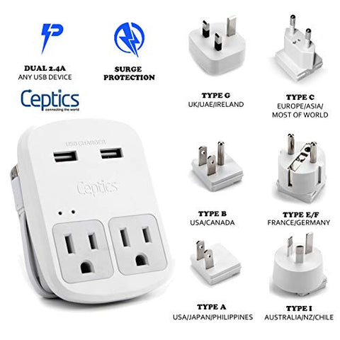 World Travel Adapter Kit by Ceptics - Dual USB + 2 US Outlets, Surge Protection, Plugs for Europe, UK, China, Australia, Japan - Perfect for Laptop, Cell Phones, Cameras - Safe ETL Tested (WPS-2B+)
