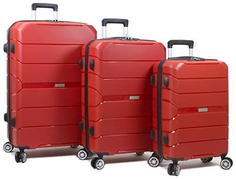 Dejuno Ark 3-Piece Lightweight Hardside Spinner Luggage Set-Red