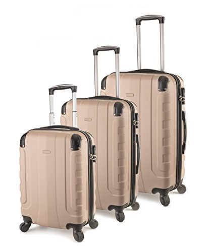 TravelCross Chicago Luggage 3 Piece Lightweight Spinner Set - Champagne
