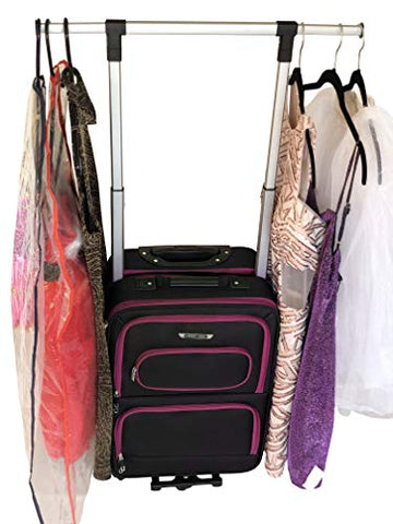 "The Dance Angel Suitcase Hot Pink and Black""The Classic"" Carry-On (Rolling Dance Bag With Costume"