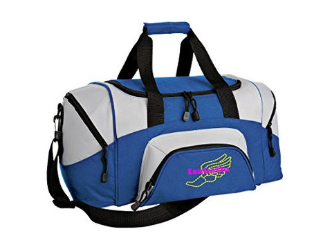 Track & Field Personalized - Colorblock Sport Small Duffle Bag (Royal/Grey)