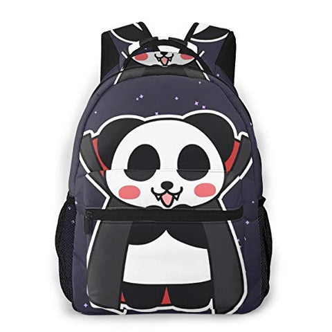 Hiking Work Walking Cycling Backpack Daypack Lightweight Polyester Multipurpose Anti-Theft Rucksacks Big Capacity Bookbag, Cute Funny Vampire Panda Stars