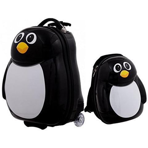GHP Set of 2 Polycarbonate ABS Material & Nylon Travelling Penguin-Shaped Luggage Set