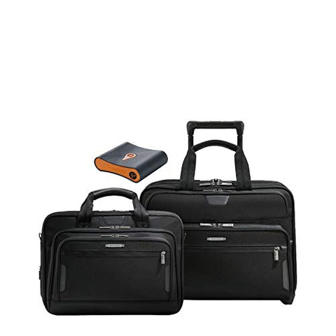 Briggs & Riley At Work 3-Pc Set- Lg Exp Rolling Brief, Med Exp Briefcase, Portmantos Tracking