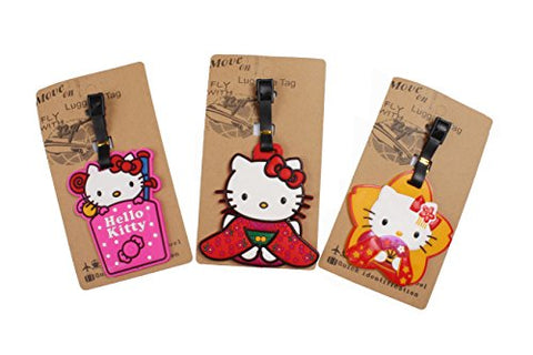 Set Of 3 - Super Cute Kawaii Cartoon Silicone Travel Luggage Id Tag For Bags (Hello Kitty 3)