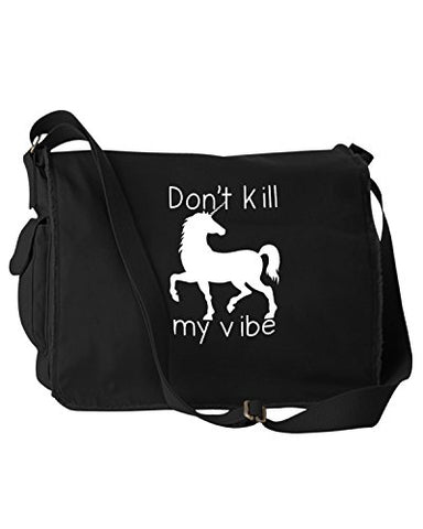 Funny Don'T Kill My Vibe Unicorn Black Canvas Messenger Bag