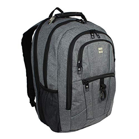 "Dejuno Commuter Backpack Checkpoint-Friendly 15.6"" Laptop Pocket - Heather Grey, One Size"