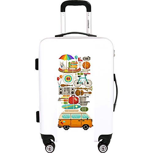 "Ugo Bags Best Trip Ever By Eleanor Lutz 22"" Luggage (White)"