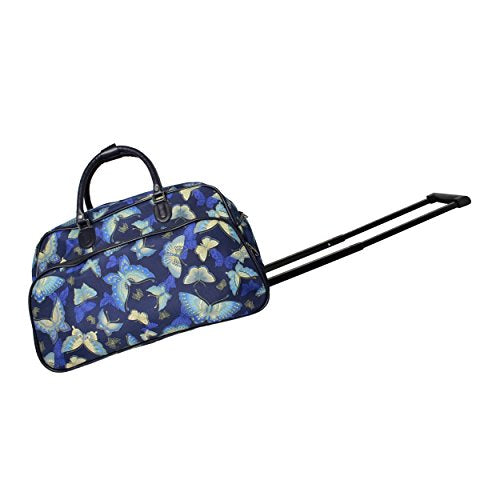 World Traveler Women's Blue Moon 21-inch Bag Rolling Duffel, Gold Butterfly, One Size