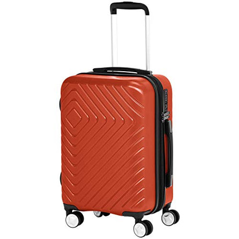 AmazonBasics Geometric Travel Luggage Expandable Suitcase Spinner with Wheels and Built-In TSA Lock, 20 Inch - Orange