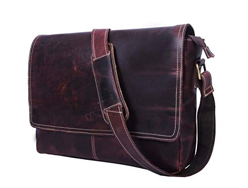 Addey Supply Company Leather Messenger Laptop Cross-Body Bag 15 X 4 X 11 inch Walnut