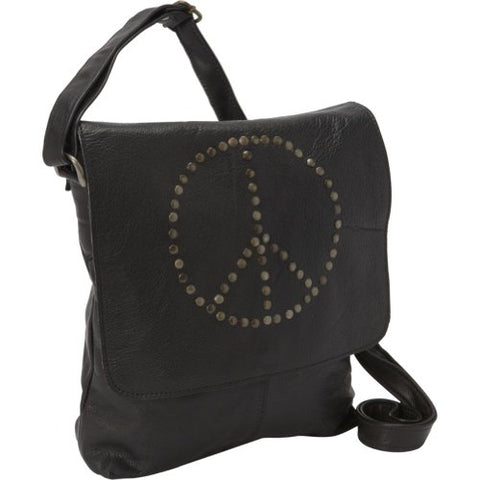 Sharo Leather Bags Peace Messenger Bag (Black)
