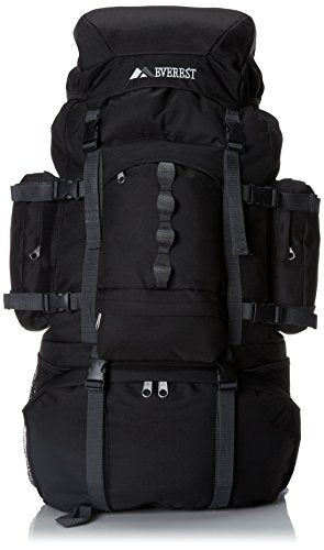 Everest Deluxe Hiking Pack, Black, One Size