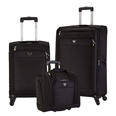 Travelers Club Luggage Monterey 3-Piece Softside Luggage Set, Black