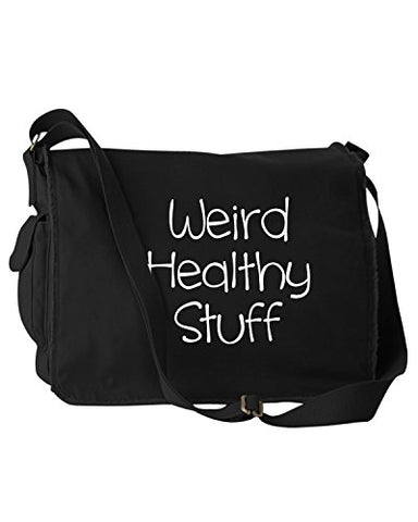 Funny Weird Healthy Stuff Groceries Snacks Black Canvas Messenger Bag