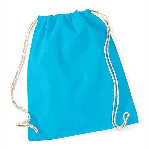 Westford Mill Cotton Lightweight Draw String Gym Sac Bag - Surf Blue