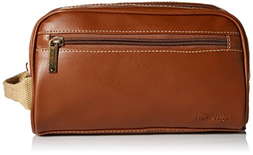 Kenneth Cole Men's Zip Travel Kit with Woven Handle, Saddle, One Size
