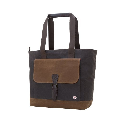 Token Bags Waxed Montague Tote Bag, Dark Brown, One Size