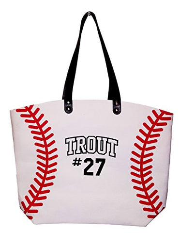 X-Large 22 In Wide Baseball Design Beach Bag Tote -- Personalization Available (Baseball - Name)