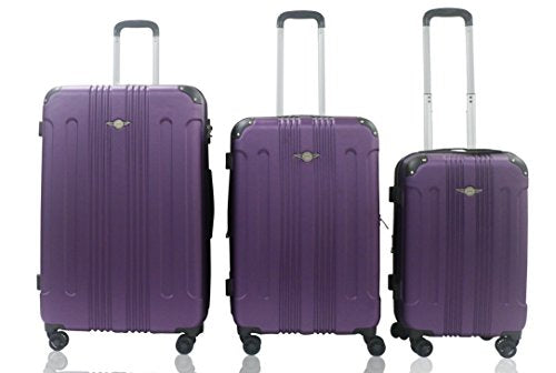 Rivolite New 3 Piece Expandable, Airplane Double Wheels, Size 20''26''29''(Purple)