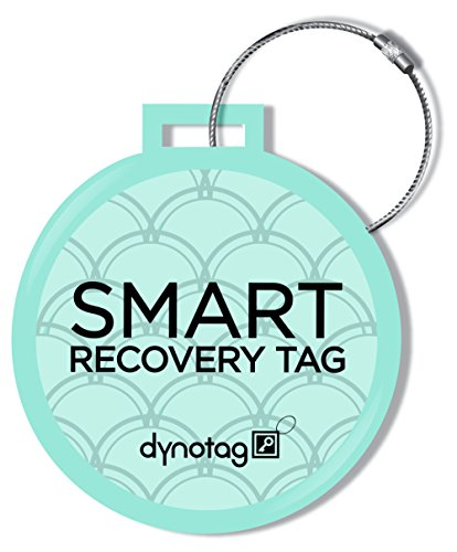 Dynotag Web/Gps Enabled Qr Smart Deluxe Steel Luggage Tag & Braided Steel Loop (Turquoise)