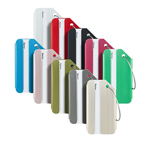 Travelambo Luggage Tags & Bag Tags Stainless Steel Aluminum Various Colors (Mixed Colors 10 Pcs