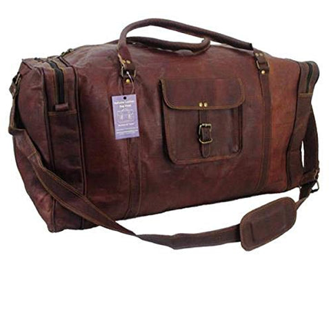 Large Leather Duffel Travel Luggage Overnight Sports Duffel Bag For Men