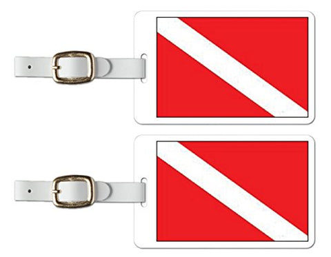 Tag Crazy Luggage Tags With A Brilliant High-Resolution Image Of A Scuba Diver Down Flag,