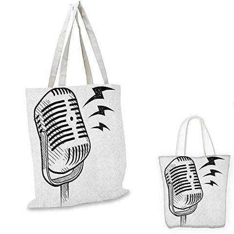 Doodle thin shopping bag Retro Microphone Communication and Media Concept Radio Show Speech Talk