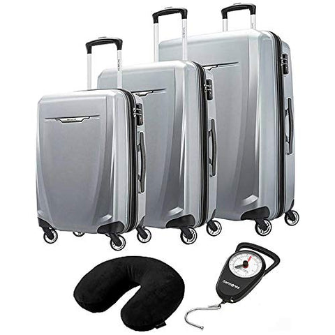 Samsonite 120751-1776 Winfield 3 DLX 3 Piece Set Spinner 20 Inch, 25 Inch, 28 Inch - Silver Bundle with Microbead Neck Pillow with Travel Pouch and Manual Luggage Scale