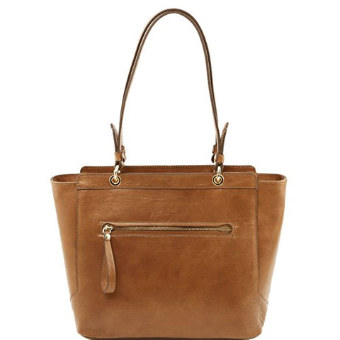 Tuscany Leather Tl Neoclassic Leather Tote With Two Handles Dark Taupe Leather Shoulder Bags