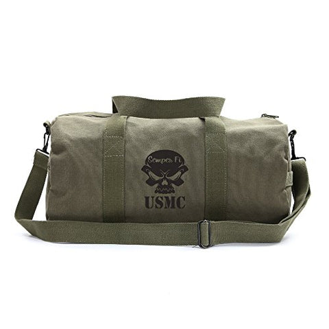 USMC Semper Fi Skull Marine Corp Sport Heavyweight Canvas Duffel Bag in Olive & Black, Large